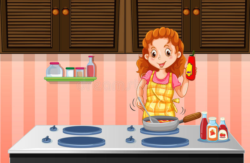 Woman cooking in the kitchen stock illustration