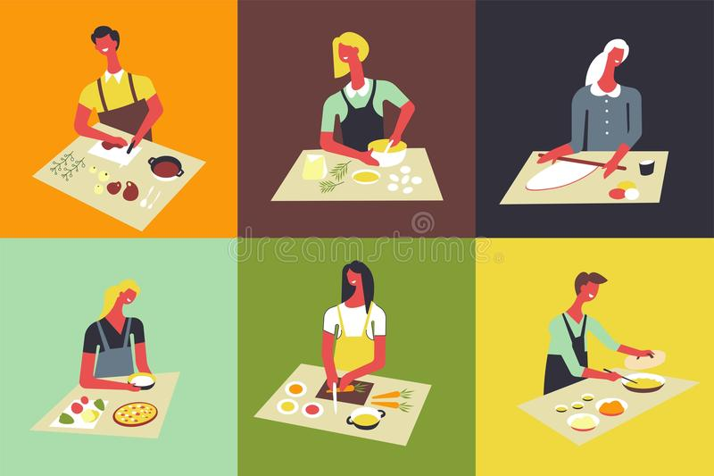 Woman cooking at kitchen vector faceless people. Woman cooking at kitchen table and stove. Vector faceless woman cutting ingredients and prepare soup or salad royalty free illustration