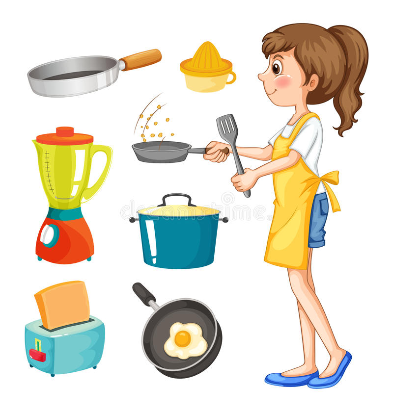 Woman cooking and other kitchen objects stock illustration