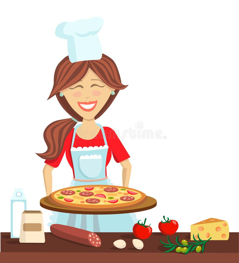 Happy Girl Kitchen: Vector Flat Character Illustration With A Woman Cooking