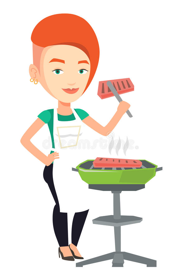 Woman cooking steak on barbecue grill. stock illustration