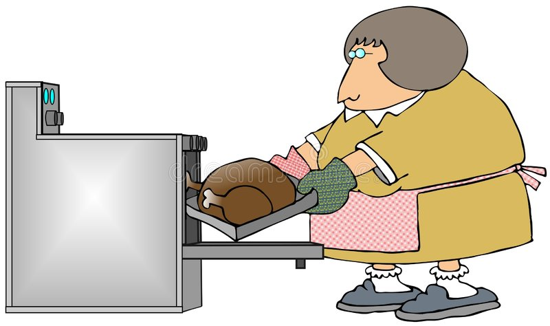 Woman Cooking A Turkey royalty free illustration