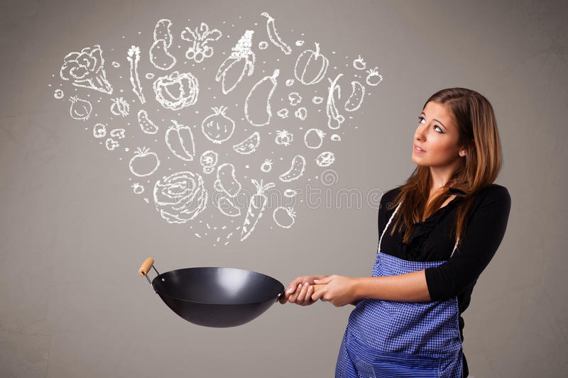 Download Woman cooking vegetables stock illustration. Illustration of cabbage - 28655884