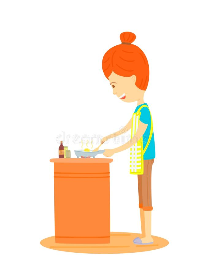 Woman is cooking. In the kitchen, Mother is cooking in the kitchen,Housewife is cooking in the kitchen,cute cartooning style, colorful illustration, The side of stock illustration