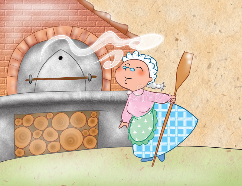 Woman cooking with a wood-burning oven. An elderly amusing woman is cooking something very good in her wood-burning oven. Digital illustration for the royalty free illustration