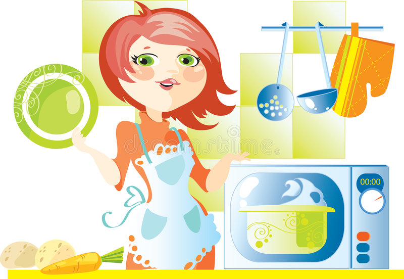 Woman cooks food in microwave stock illustration
