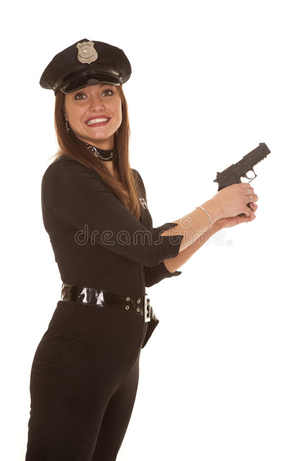 Woman cop hold pistol yikes royalty free stock image