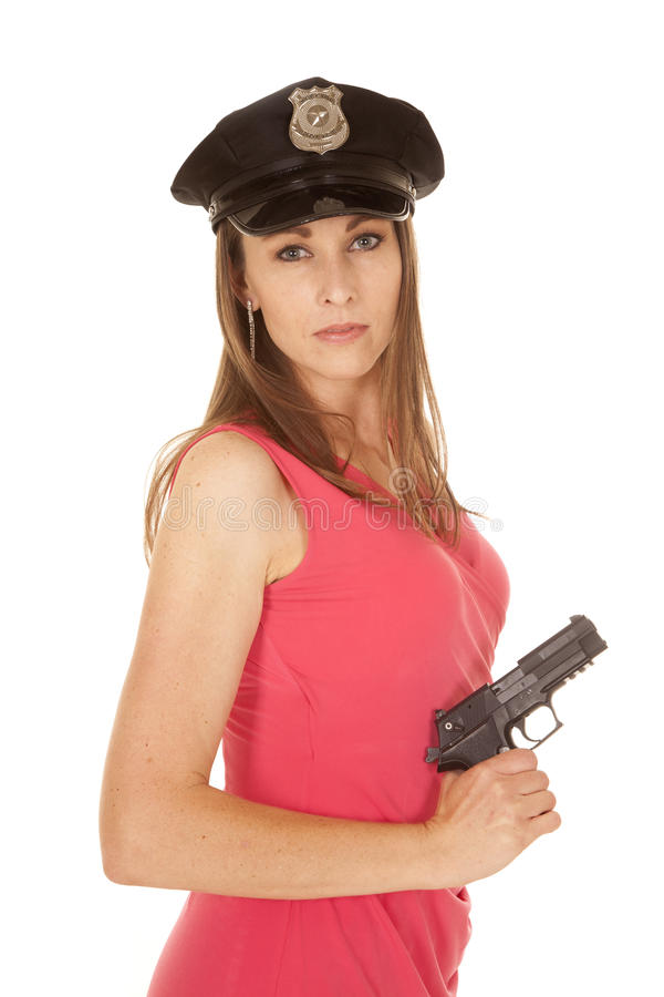 Download Woman Cop Pink Dress Gun Side Serious Stock Image - Image of modern brunette  sc 1 st  Dreamstime.com & Woman Cop Pink Dress Gun Side Serious Stock Image - Image of modern ...