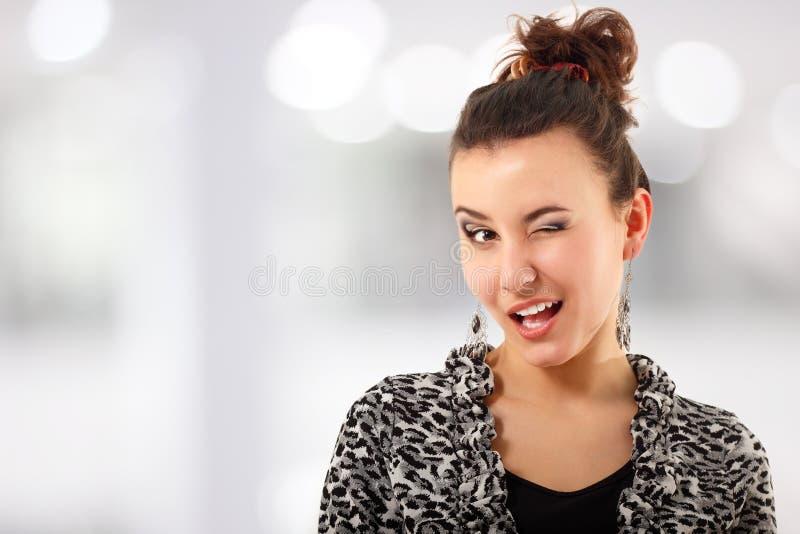 Woman Coquette Flirt Winking Stock Image