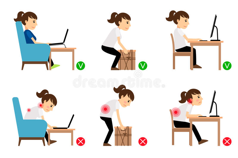 Woman Correct And Incorrect Postures Stock Vector