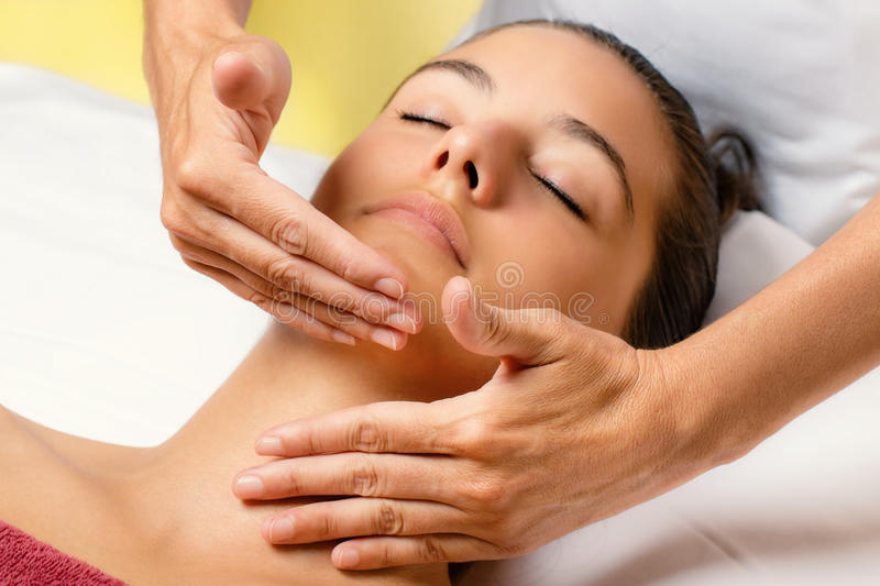Woman at cosmetic beauty treatment session. stock photography