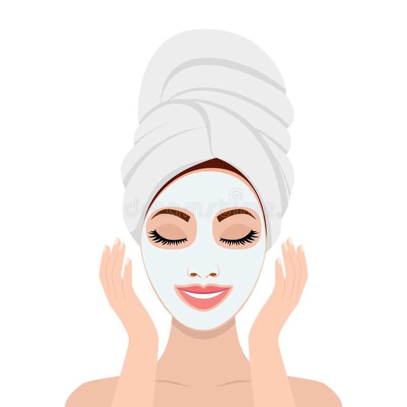 Woman with a cosmetic face mask. Smiling girl portrait. SPA beauty and health concept. Skin care . Relaxation Vector illustration in flat style royalty free illustration