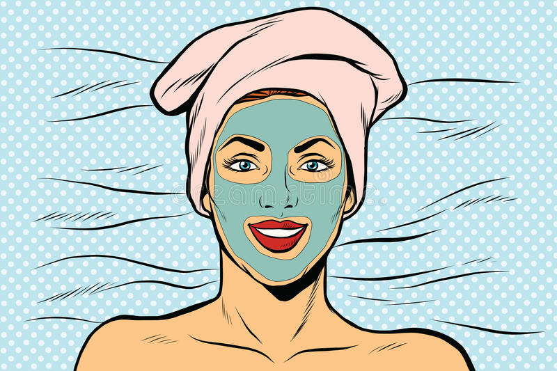 Woman with cosmetic mask on face. Pop art retro vector illustration royalty free illustration