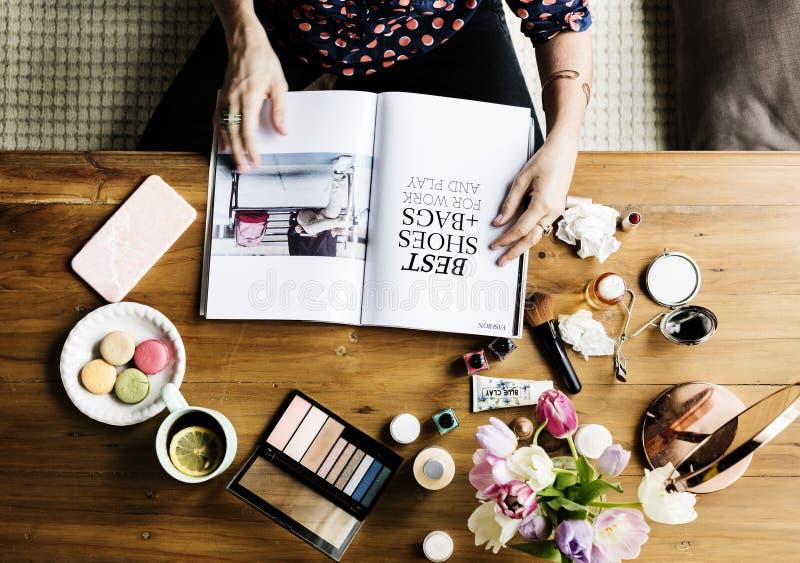Woman Cosmetics Makeup Beauty Feminine stock images