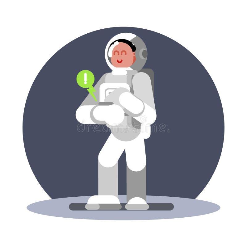 Woman cosmonauts hand computer. Work well. Vector illustration, EPS 10 stock illustration