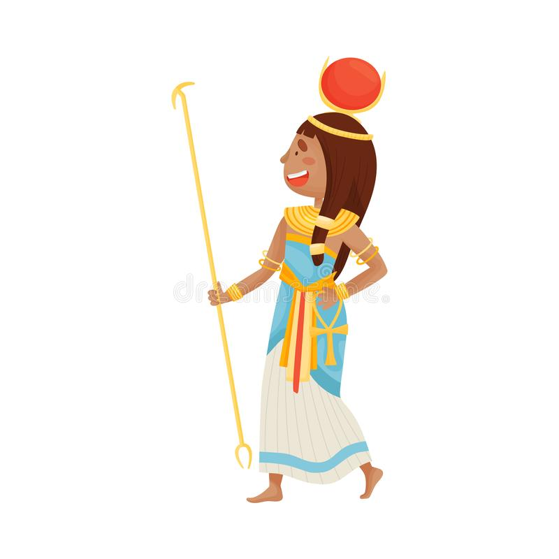 Woman in costume of the Egyptian pharaoh. Vector illustration on a white background. Woman in costume of the Egyptian pharaoh. Hoop with a large red circle on vector illustration