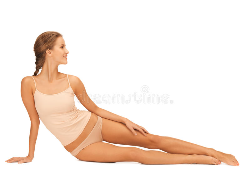 Download Woman In Cotton Underwear Touching Her Legs Royalty Free Stock Photos - Image: 28534638