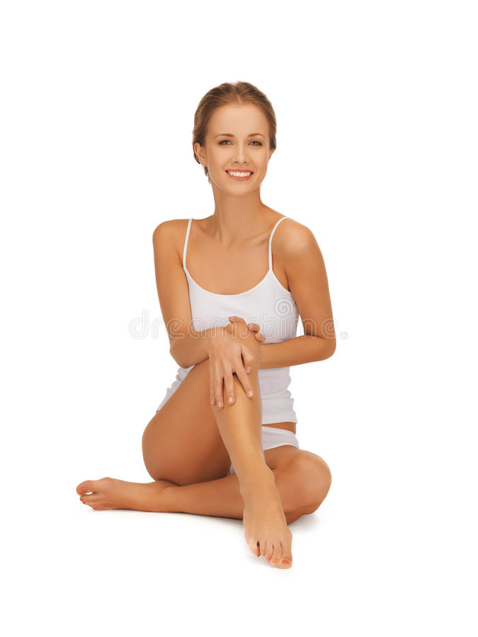 Download Woman In Cotton Undrewear Touching Her Legs Stock Image - Image: 27932815