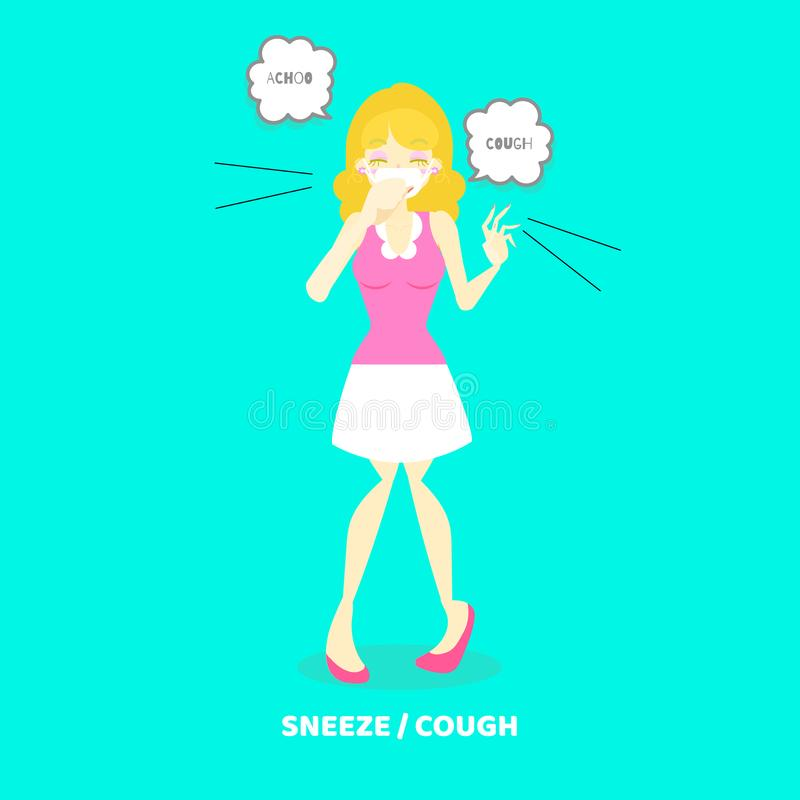 woman coughing, sneezing, health care disease symptoms concept royalty free illustration