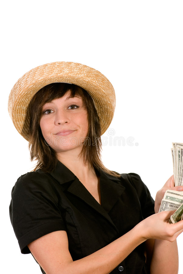 Woman Counting Her Cash Stock Photography