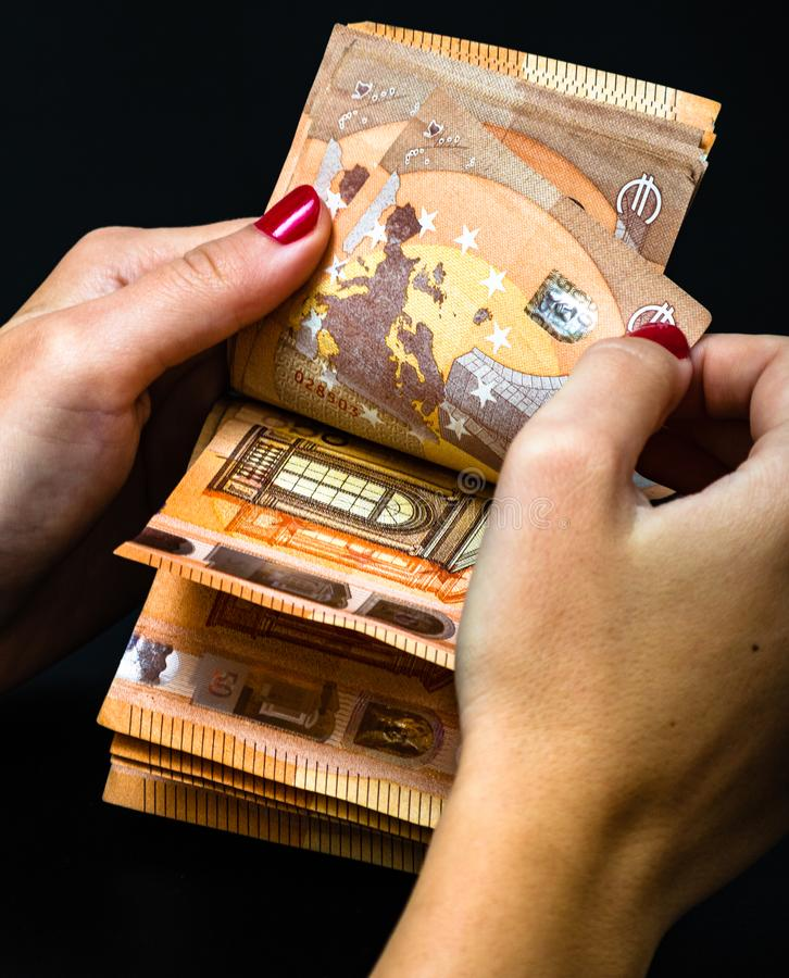 Woman counting money, counting EURO close up.  stock image