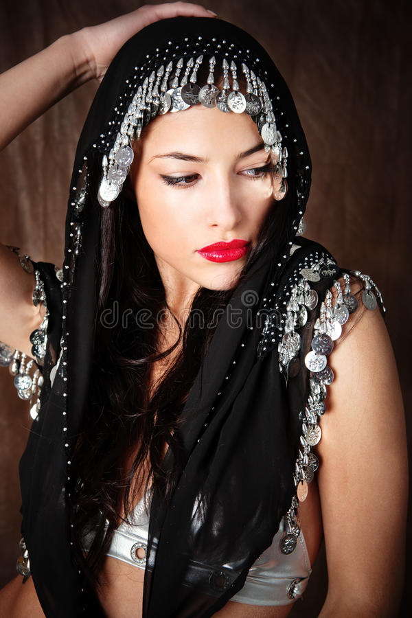 Download Woman Covered With Black Scarf Stock Photo - Image: 23748974