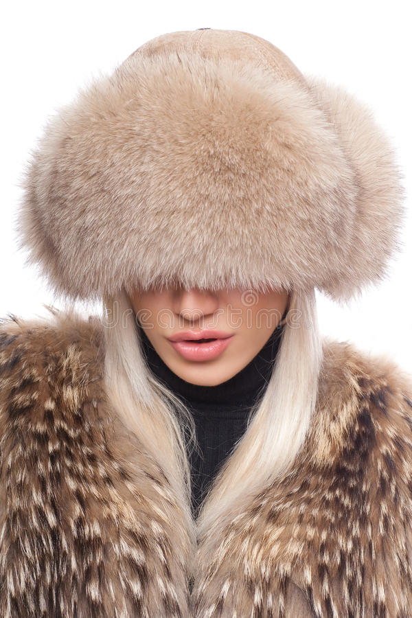Woman S Face Covered By Fur Stock Photo Image Of Winter