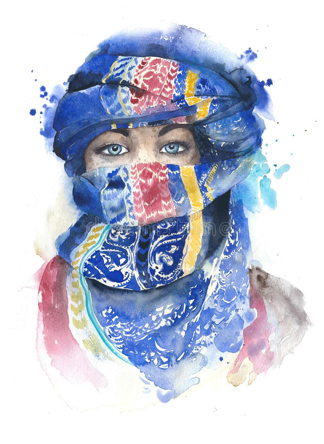 Woman covered face wearing scarf muslim girl portrait moroccan watercolor painting illustration isolated on white background stock illustration
