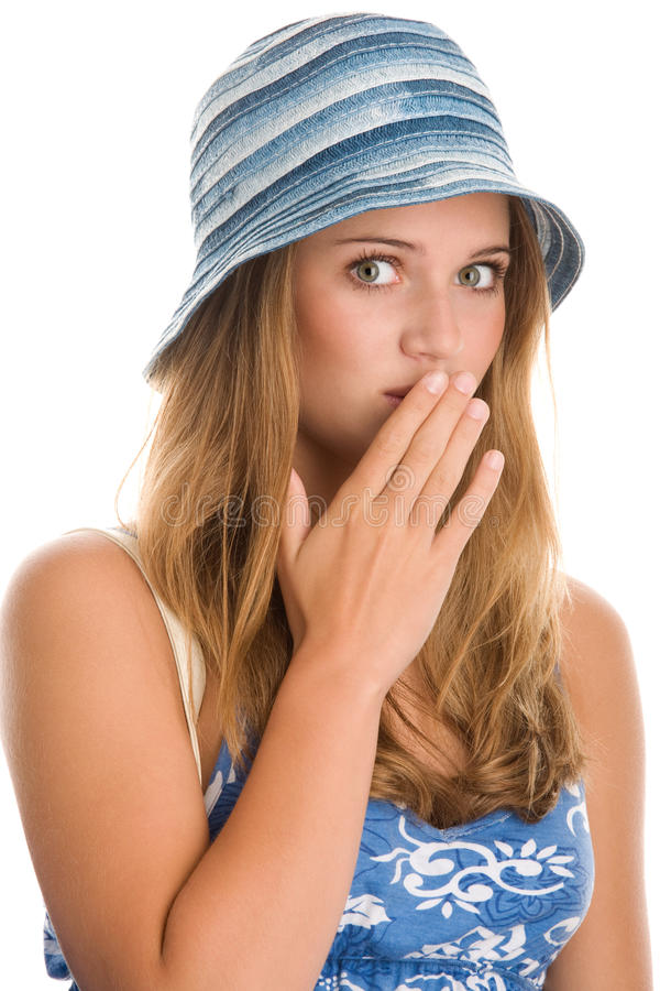 Woman covering her mouth stock photos