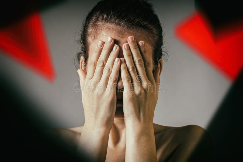 Concept of suffering, grief, fear, etc royalty free stock photos