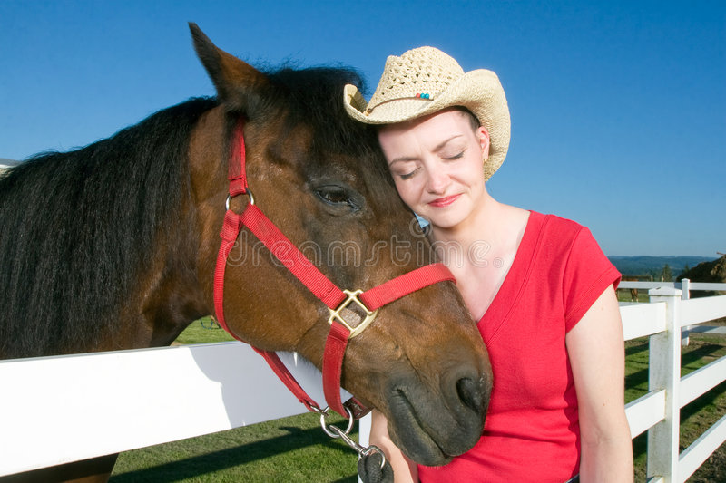 Download Woman In Cowboy Hat With Horse - Horizontal Stock Image - Image of upright, nature: 5560275