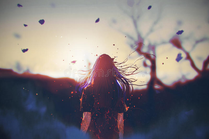 Woman with cracked effect on her body looking the sunrise stock illustration