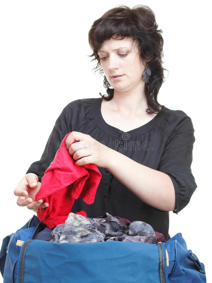 Download Woman Crammed Full Of Clothes And Shoulder Bag Isolated Stock Photo - Image: 29861126