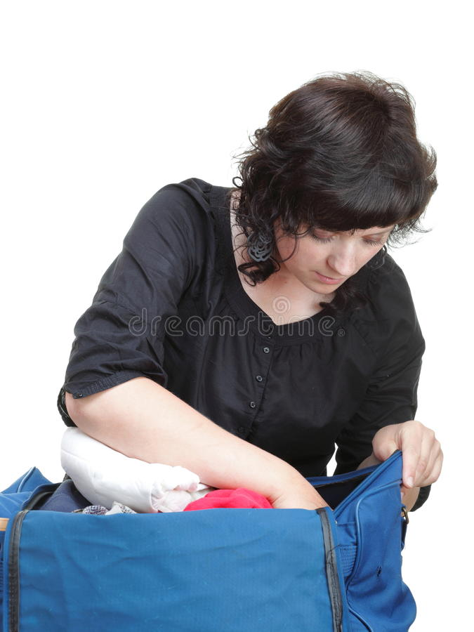 Download Woman Crammed Full Of Clothes And Shoulder Bag Isolated Stock Photo - Image: 31318470