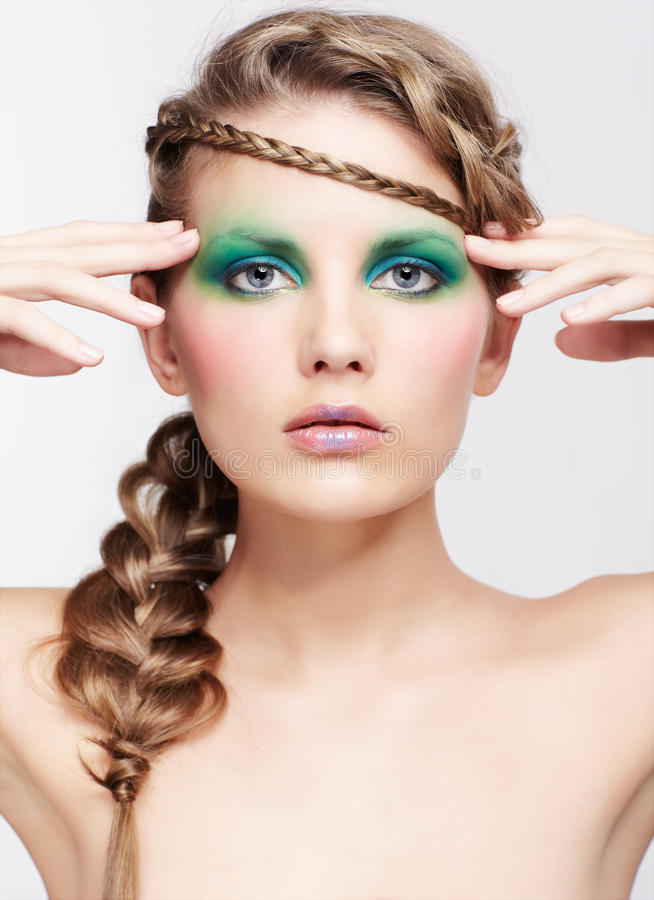 Download Woman with creative hairdo stock image. Image of green - 30757751