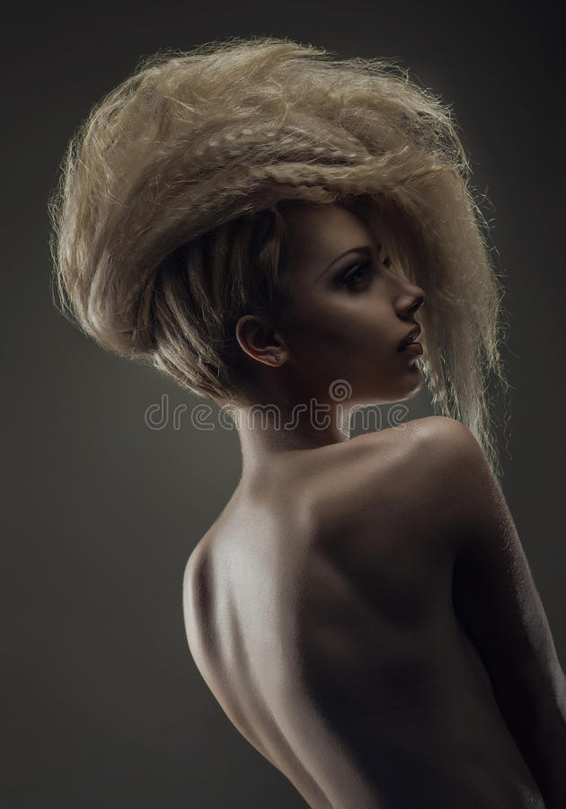 Woman with creative hairstyle royalty free stock images