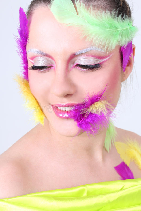 Download Woman With Creative Make-up And Feathers Stock Photo - Image: 24808022
