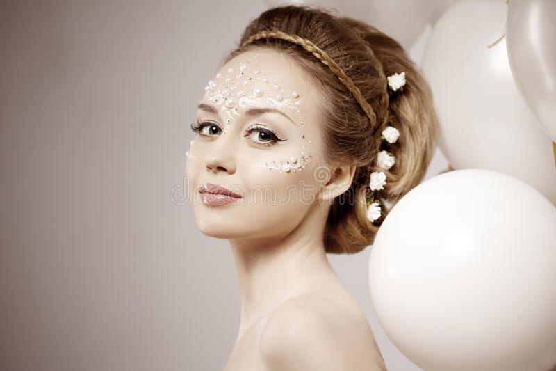 Download Woman With Creative Make-up Of Pearls Stock Photo - Image: 30508766