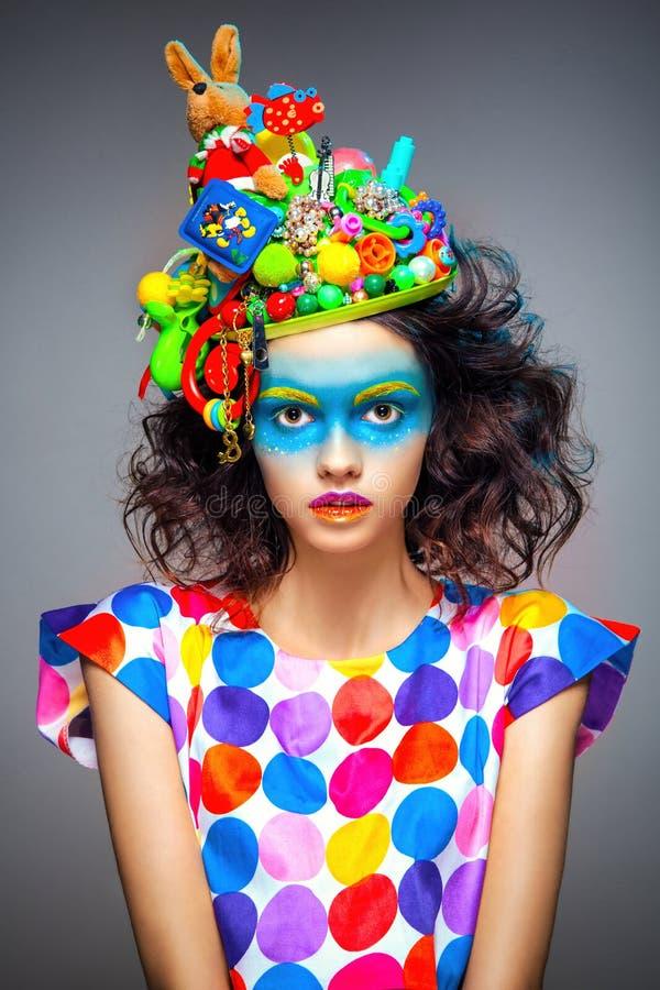Woman with creative pop art makeup royalty free stock photo