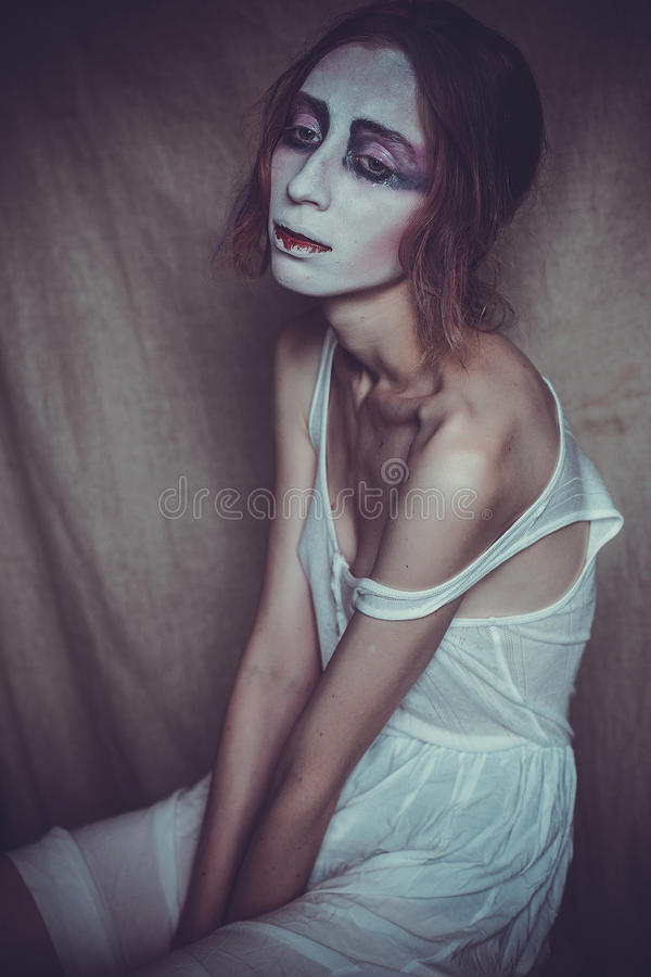 Woman with creative visage, soft light royalty free stock images