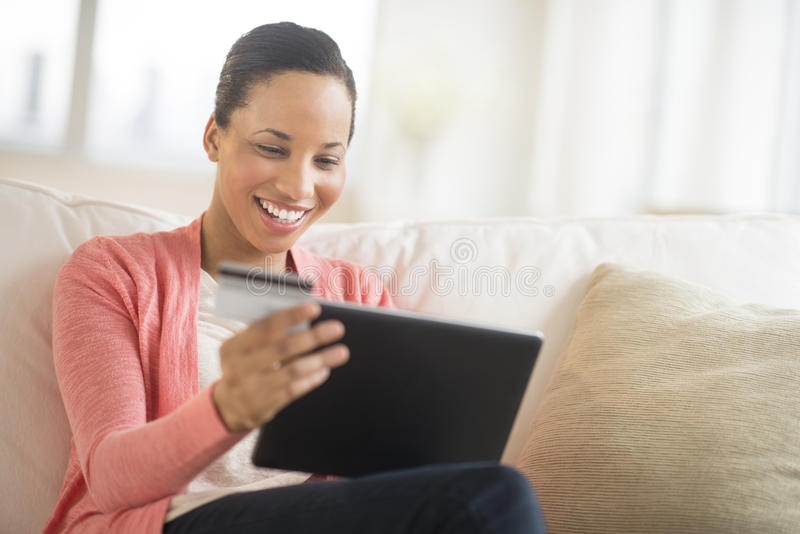 Download Woman With Credit Card And Laptop Shopping Online At Home Stock Image - Image: 32429607