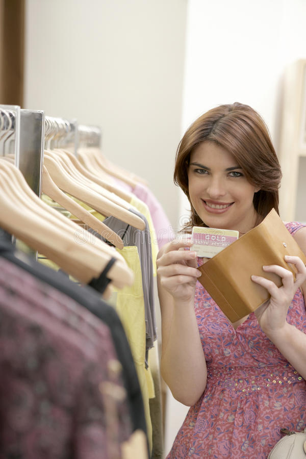 Woman Credit Card Shop Stock Images