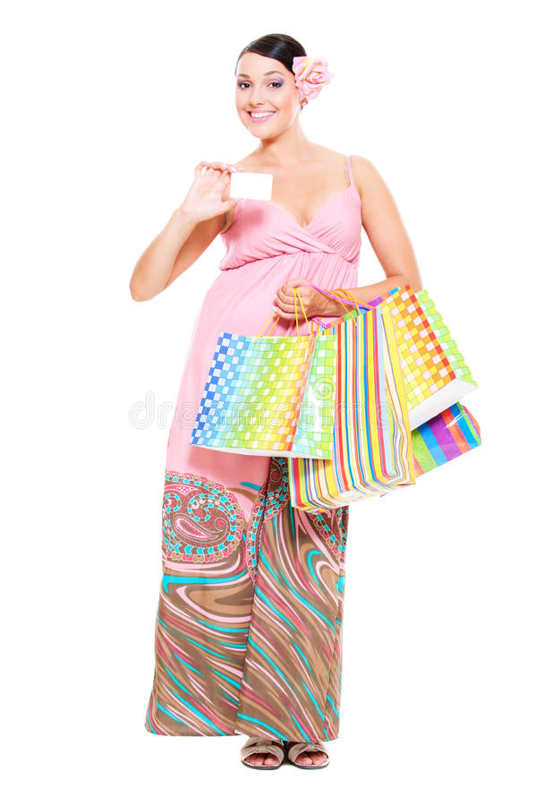 Download Woman With Credit Card And Shopping Bags Stock Photo - Image: 20398186