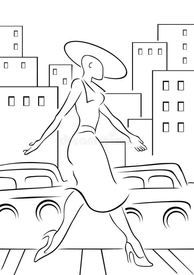 Download Woman Crossing Street stock vector. Image of cartoon - 15312973