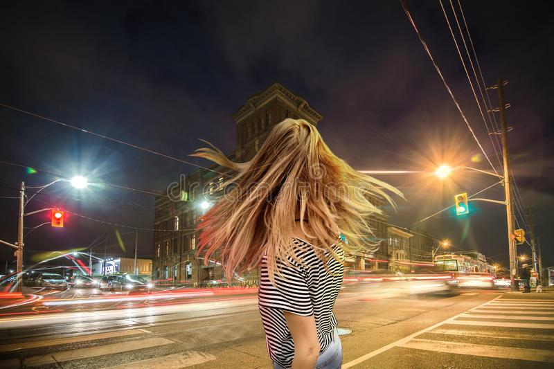WOMAN IN CROSSROAD stock images