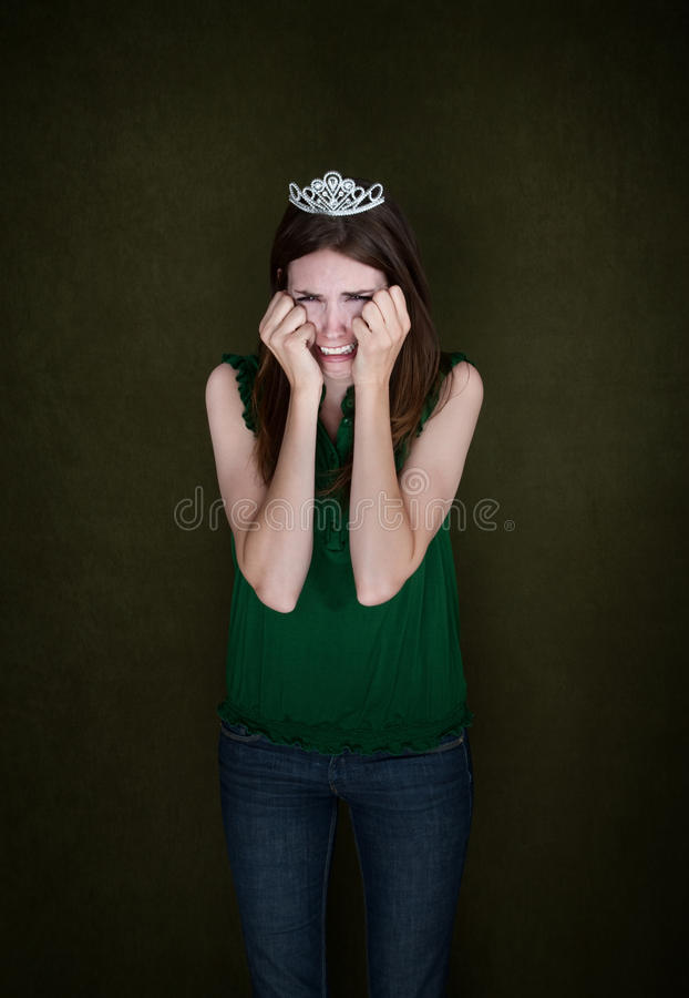 Download Woman With Crown Cries stock image. Image of green, play - 19305799