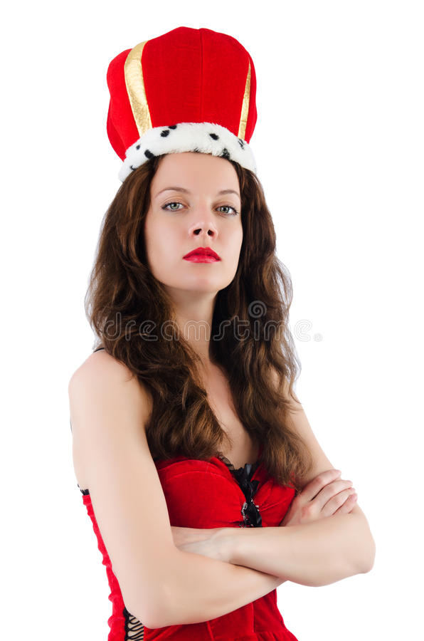 Woman with crown. Isolated on white stock images