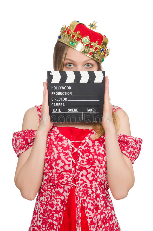 Woman with crown. And movie board royalty free stock photos