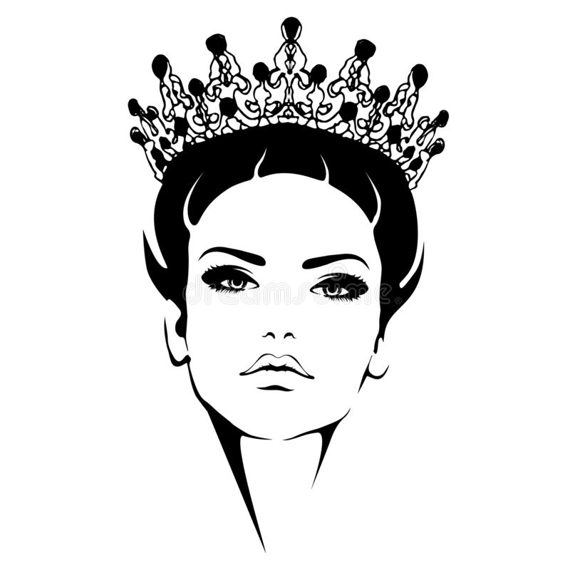 Woman in crown. Queen Black and white silhouette royalty free illustration