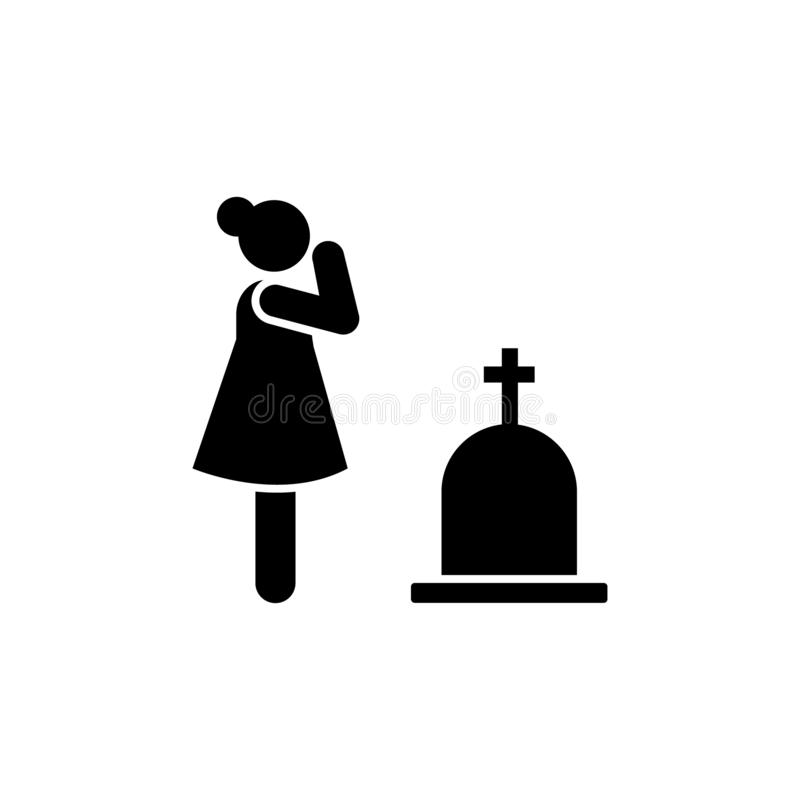 Woman cry weep funeral widow icon. Element of pictogram death illustration.  royalty free illustration